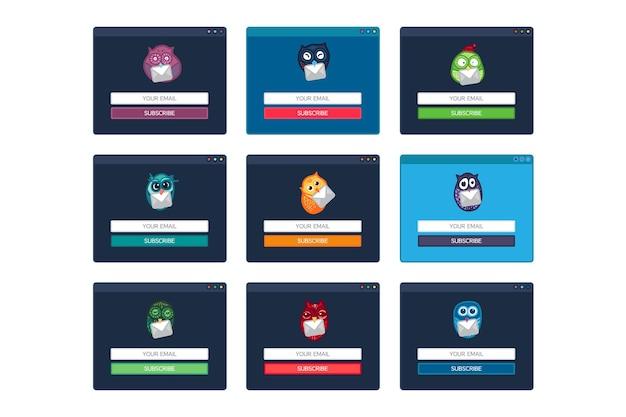 웹 템플릿, 이메일 구독의 사이트 형태를 위한 웹 요소, fun owl이 있는 뉴스레터. 벡터