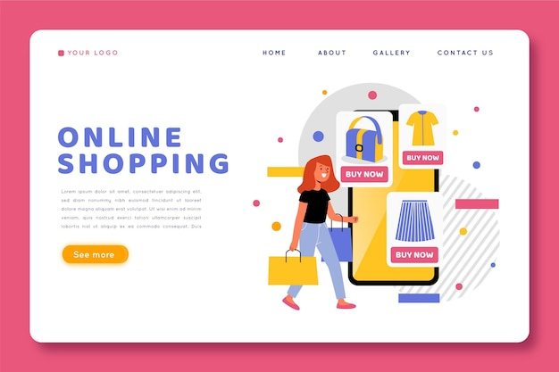 Web template with shopping online design