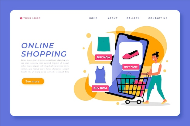 Web template with shopping online theme