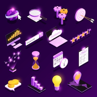 Web traffic isometric icons set with content optimization symbols isolated  illustration