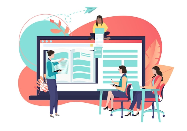 웹 자습서 전자 교과서 거리 및 elearning은 노트북 스마트폰과 사람들이 평면 스타일 디자인을 연구하는 인터넷 벡터 일러스트레이션으로 기술을 향상시킵니다.
