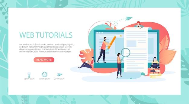 웹 자습서 전자 교과서 거리 및 전자 학습 프레젠테이션 웹 또는 방문 페이지 템플릿(노트북 사람 및 텍스트 벡터 배경 플랫 스타일을 위한 공간 포함)