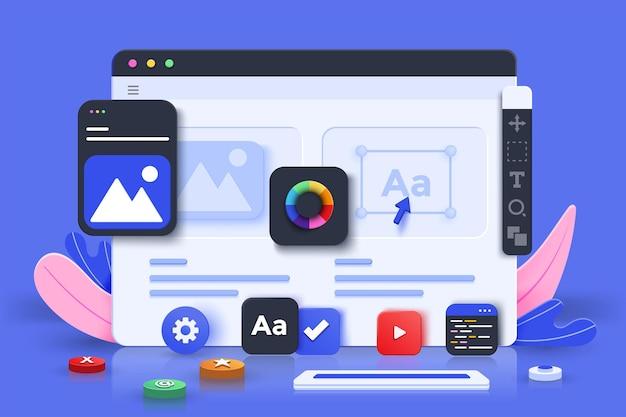 Веб-дизайн ui-ux, концепция веб-разработки. веб-дизайн, дизайн приложений, кодирование и веб-строительство на синем фоне. 3d векторные иллюстрации