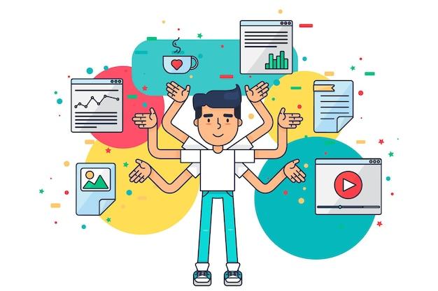 Web ui ux designer с чашкой, дизайном, поисковой оптимизацией, веб-инструментами для приложения, страницы, шаблона, документа, фреймворка. креативный разнорабочий сотрудник работает над приложениями, программированием, разработкой сайтов. вектор