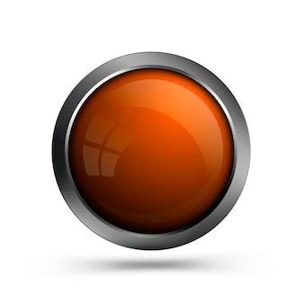 ガラスボタンオレンジ色は白で隔離されます。 webおよびuiの空白の丸いボタン。