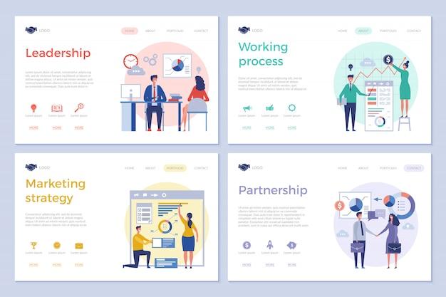 ビジネスのランディングページ。 webデザインuiテンプレートクリーンデザイン写真ビジネスマンオフィスマネージャーディレクターチーム作業ベクター画像