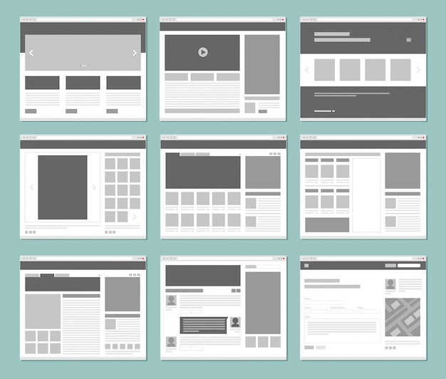 Webページのレイアウト。ウェブサイトの要素を持つインターネットブラウザーウィンドウインターフェイスuiテンプレート