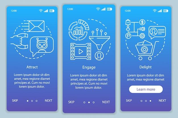顧客向けのインバウンドマーケティング手法は、モバイルアプリページ画面のベクトルテンプレートをオンボーディングします。直線的なイラストでウォークスルーwebサイトの手順を実行します。 ux、ui、guiスマートフォンインターフェイスコンセプト