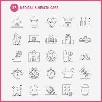 Web、印刷およびモバイルux / uiキットの医療およびヘルスケアラインアイコン。