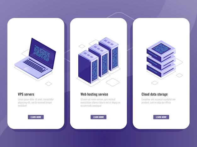 Webホスティングサービスアイソメトリックアイコン、vpsサーバールーム、データウェアハウスクラウドストレージ
