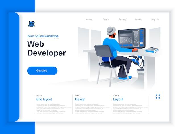 Web開発等尺性ランディングページ。オフィスの状況でコンピューターを操作するwebデザイナー。 ui、uxレスポンシブインターフェイスデザイン、ウェブサイトプロトタイピング、プログラミングパースペクティブフラットデザイン。