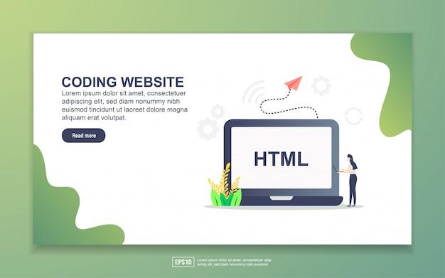コーディングwebサイトのランディングページテンプレート。 webサイトおよびモバイルwebサイトのwebページデザインのモダンなフラットデザインコンセプト。