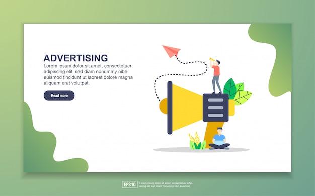 広告のランディングページテンプレート。 webサイトおよびモバイルwebサイトのwebページデザインのモダンなフラットデザインコンセプト。