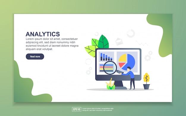 分析のランディングページテンプレート。 webサイトおよびモバイルwebサイトのwebページデザインのモダンなフラットデザインコンセプト。