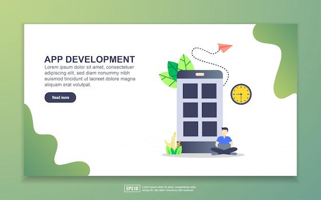 アプリ開発のランディングページテンプレート。 webサイトおよびモバイルwebサイトのwebページデザインのモダンなフラットデザインコンセプト。
