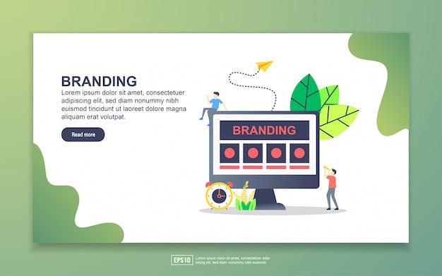ブランディングのランディングページテンプレート。 webサイトおよびモバイルwebサイトのwebページデザインのモダンなフラットデザインコンセプト。