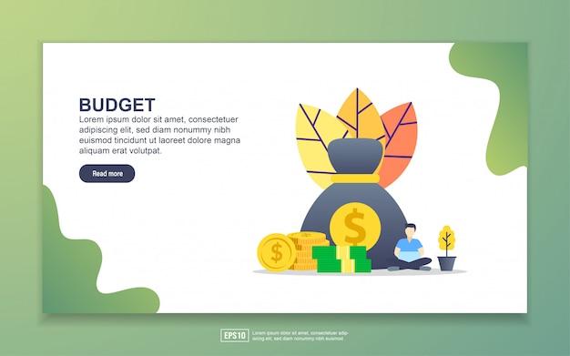 予算のランディングページテンプレート。 webサイトおよびモバイルwebサイトのwebページデザインのモダンなフラットデザインコンセプト。
