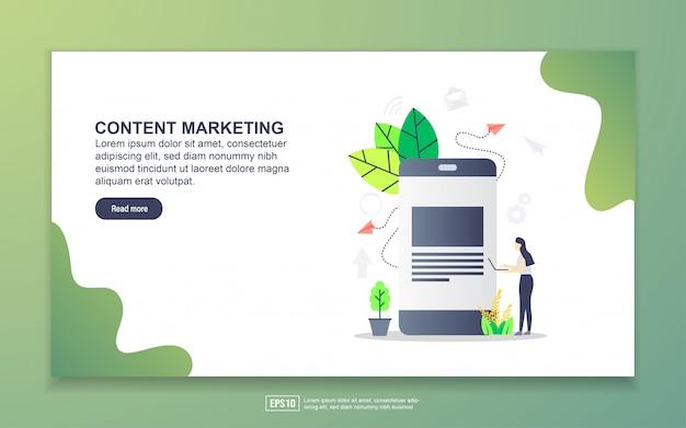コンテンツマーケティングのランディングページテンプレート。 webサイトおよびモバイルwebサイトのwebページデザインのモダンなフラットデザインコンセプト。