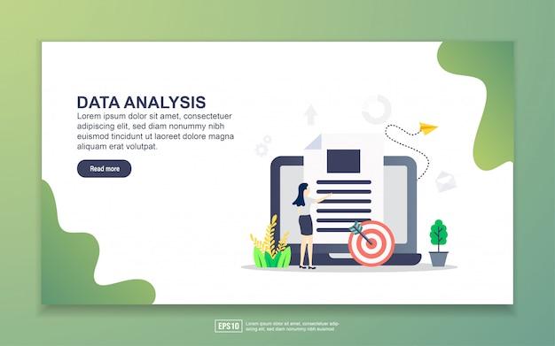 データ分析のランディングページテンプレート。 webサイトおよびモバイルwebサイトのwebページデザインのモダンなフラットデザインコンセプト。