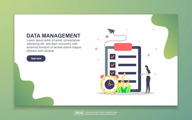 データ管理のランディングページテンプレート。 webサイトおよびモバイルwebサイトのwebページデザインのモダンなフラットデザインコンセプト。
