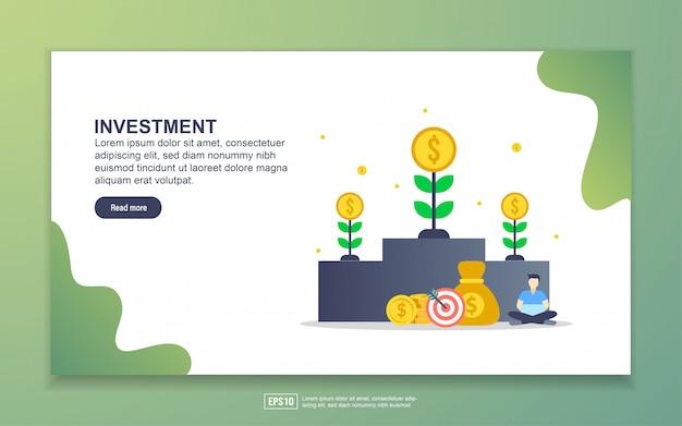 投資のランディングページテンプレート。 webサイトおよびモバイルwebサイトのwebページデザインのモダンなフラットデザインコンセプト。