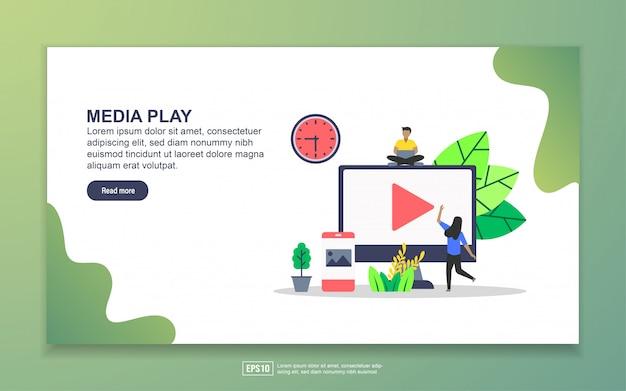 メディアプレイのランディングページテンプレート。 webサイトおよびモバイルwebサイトのwebページデザインのモダンなフラットデザインコンセプト。