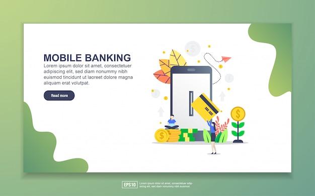 モバイルバンキングのランディングページテンプレート。 webサイトおよびモバイルwebサイトのwebページデザインのモダンなフラットデザインコンセプト。
