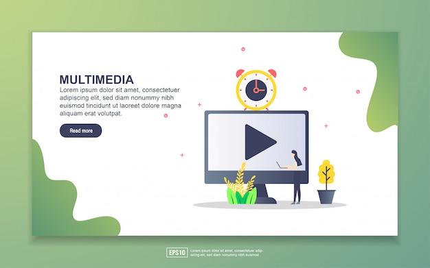 マルチメディアのランディングページテンプレート。 webサイトおよびモバイルwebサイトのwebページデザインのモダンなフラットデザインコンセプト。