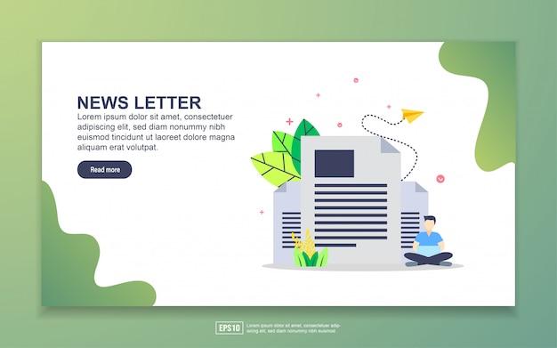 ニュースレターのランディングページテンプレート。 webサイトおよびモバイルwebサイトのwebページデザインのモダンなフラットデザインコンセプト。