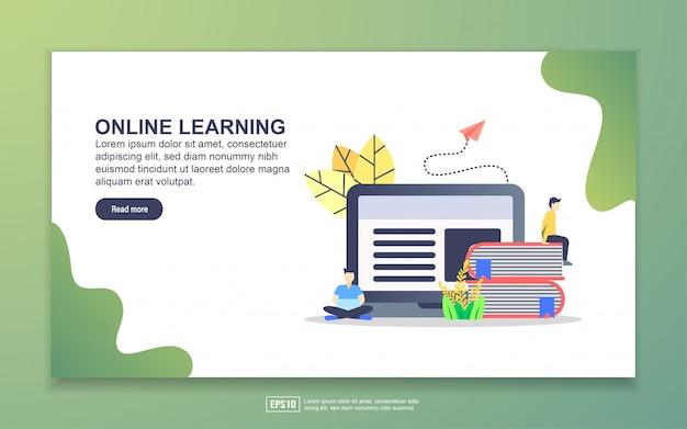 オンライン学習のランディングページテンプレート。 webサイトおよびモバイルwebサイトのwebページデザインのモダンなフラットデザインコンセプト。
