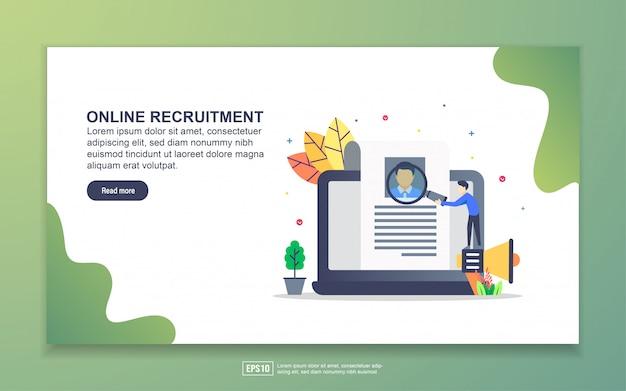 オンライン募集のランディングページテンプレート。 webサイトおよびモバイルwebサイトのwebページデザインのモダンなフラットデザインコンセプト。
