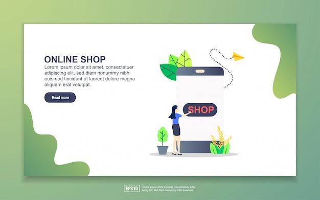 オンラインショップのランディングページテンプレート。 webサイトおよびモバイルwebサイトのwebページデザインのモダンなフラットデザインコンセプト。