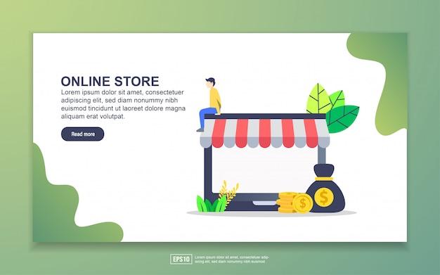 オンラインストアのランディングページテンプレート。 webサイトおよびモバイルwebサイトのwebページデザインのモダンなフラットデザインコンセプト。
