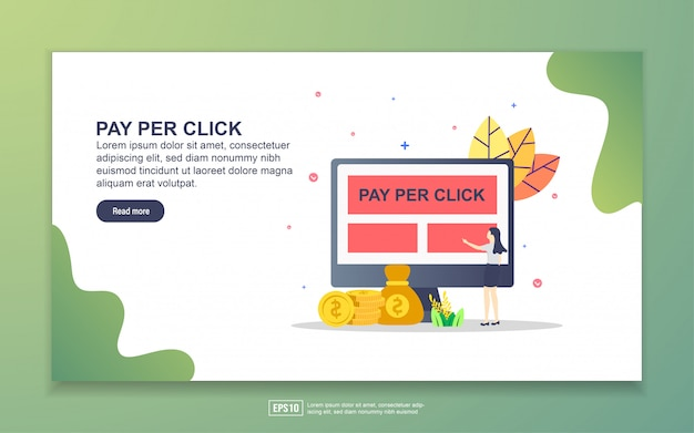 クリックごとの支払いのランディングページテンプレート。 webサイトおよびモバイルwebサイトのwebページデザインのモダンなフラットデザインコンセプト。