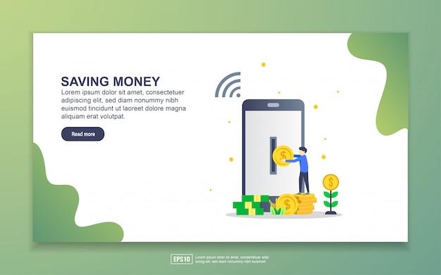 お金を節約するためのランディングページテンプレート。 webサイトおよびモバイルwebサイトのwebページデザインのモダンなフラットデザインコンセプト。