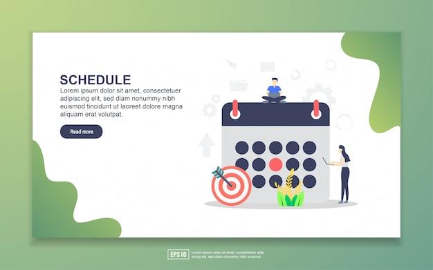 スケジュールのランディングページテンプレート。 webサイトおよびモバイルwebサイトのwebページデザインのモダンなフラットデザインコンセプト。