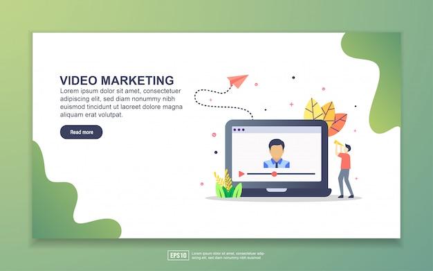 ビデオマーケティングのランディングページテンプレート。 webサイトおよびモバイルwebサイトのwebページデザインのモダンなフラットデザインコンセプト。