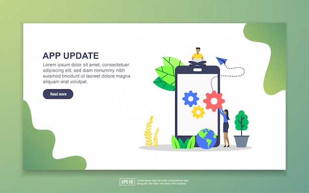 アプリ更新のランディングページテンプレート。 webサイトおよびモバイルwebサイトのwebページデザインのモダンなフラットデザインコンセプト