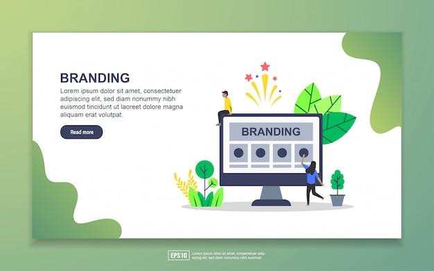ブランディングのランディングページテンプレート。 webサイトおよびモバイルwebサイトのwebページデザインのモダンなフラットデザインコンセプト
