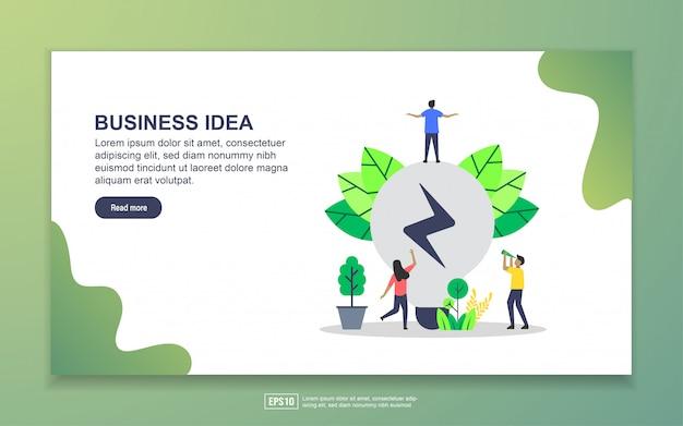 ビジネスアイデアのランディングページテンプレート。 webサイトおよびモバイルwebサイトのwebページデザインのモダンなフラットデザインコンセプト