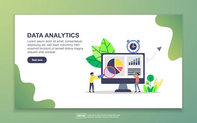 データ分析のランディングページテンプレート。 webサイトおよびモバイルwebサイトのwebページデザインのモダンなフラットデザインコンセプト