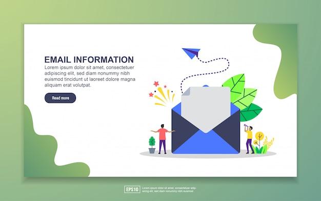 メール情報のランディングページテンプレート。 webサイトおよびモバイルwebサイトのwebページデザインのモダンなフラットデザインコンセプト