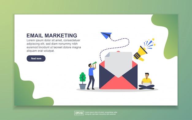 メールマーケティングのランディングページテンプレート。 webサイトおよびモバイルwebサイトのwebページデザインのモダンなフラットデザインコンセプト