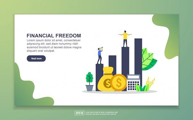 経済的自由のランディングページテンプレート。 webサイトおよびモバイルwebサイトのwebページデザインのモダンなフラットデザインコンセプト