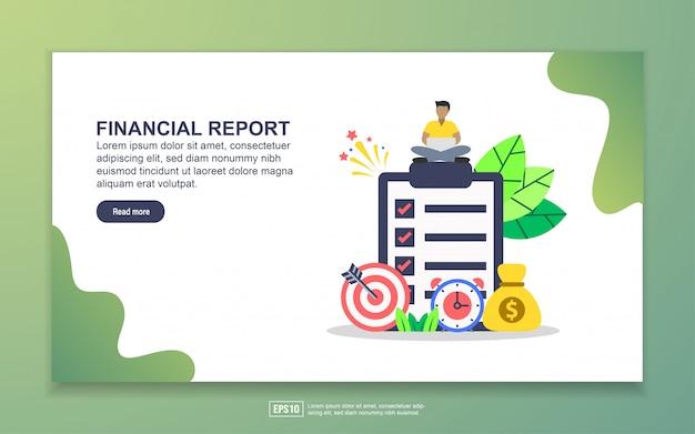財務レポートのランディングページテンプレート。 webサイトおよびモバイルwebサイトのwebページデザインのモダンなフラットデザインコンセプト