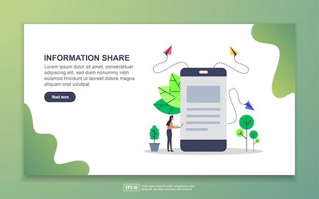 情報共有のランディングページテンプレート。 webサイトおよびモバイルwebサイトのwebページデザインのモダンなフラットデザインコンセプト