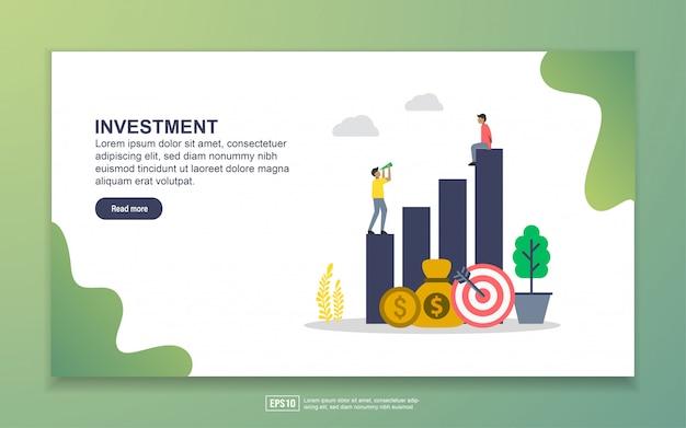 投資のランディングページテンプレート。 webサイトおよびモバイルwebサイトのwebページデザインのモダンなフラットデザインコンセプト