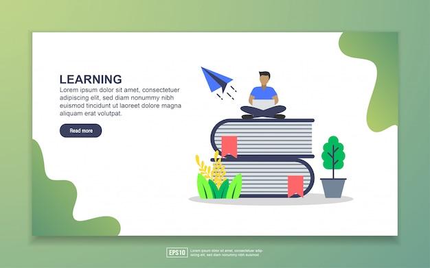 学習のランディングページテンプレート。 webサイトおよびモバイルwebサイトのwebページデザインのモダンなフラットデザインコンセプト
