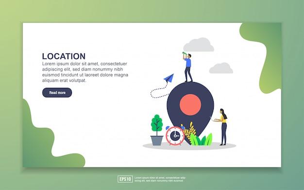 場所のランディングページテンプレート。 webサイトおよびモバイルwebサイトのwebページデザインのモダンなフラットデザインコンセプト