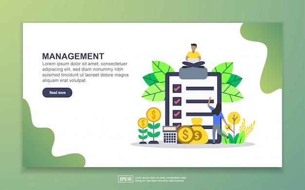 管理のランディングページテンプレート。 webサイトおよびモバイルwebサイトのwebページデザインのモダンなフラットデザインコンセプト
